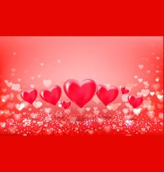 volumetric hearts balloons on hearts bokeh vector image
