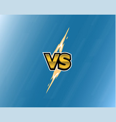 Vs letters lightning on blue background versus vector
