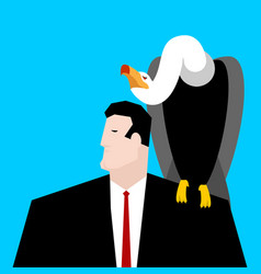 vulture and businessman neophron sitting on man vector image