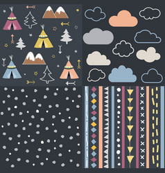wild and free teepees trees cloud pattern set vector image