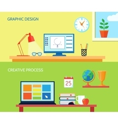 Workspace Banner Set vector image