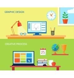 Workspace Banner Set vector