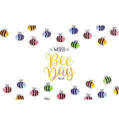 world bee day watercolor cute bees background vector image