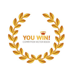 You win first place and award design with crown vector