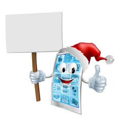 christmas sign mobile phone vector image vector image
