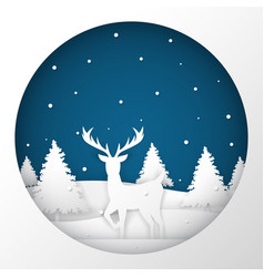 deer standing in a snow field in christmas night vector image