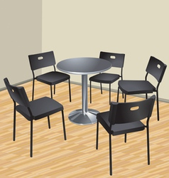 five chairs and table interior scene vector image vector image