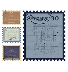 House blueprint stamped vector image vector image