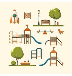 Kids playground city park set vector