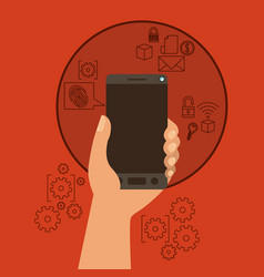 mobile security with hand holding smartphone in vector image