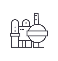 oil refinery line icon sign vector image