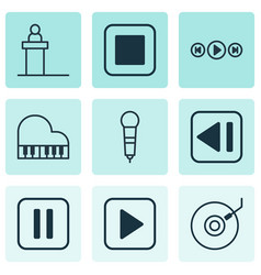 set of 9 multimedia icons includes stop button vector image