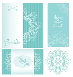 Set of Wedding invitation cards with floral elemen vector image vector image
