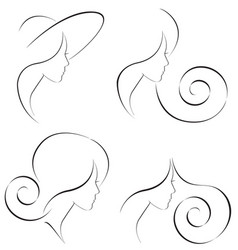 simple line of a beautiful woman vector image