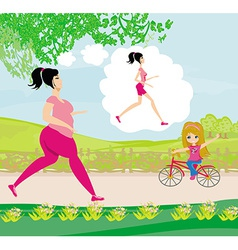 Young woman joggingfat girl dreams to be a skinny vector image
