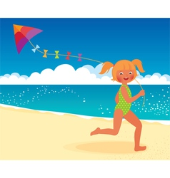 Girl with a kite on the beach running vector image vector image