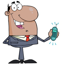 Hispanic Businessman Holding A Ringing Cell Phone vector image