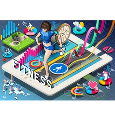 Isometric Infographic with Jogging Woman vector image vector image