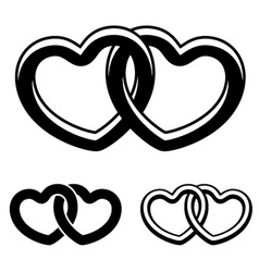 linked hearts black white symbols vector image vector image