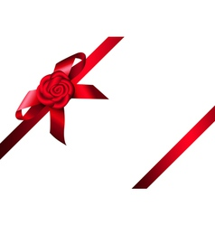 Red ribbon rose and bow vector image vector image