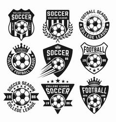 soccer set of black emblems or logos vector image