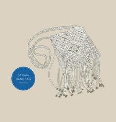 Straw handbags boho style sketch vector