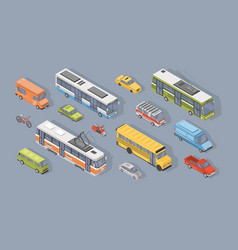 collection of isometric motor vehicles isolated on vector image