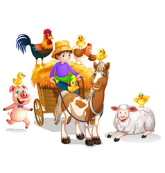 farmer and many farm animals vector image vector image