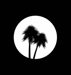 two palm trees on the background of the full moon vector image vector image
