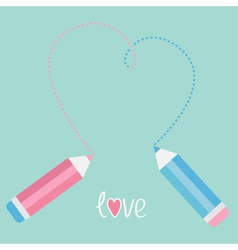 Two pencils drawing big dash heart Love card vector image vector image