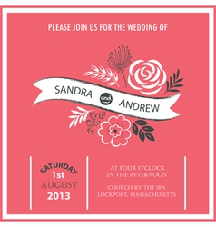 Wedding invitation or announcement vector image vector image