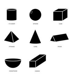 3d shape set isolated on white background vector image