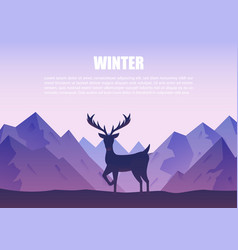 winter mountains landscape with reindeer vector image vector image