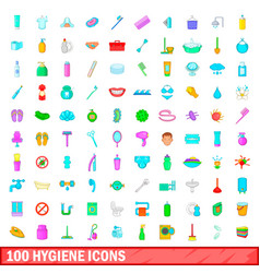 100 hygiene icons set cartoon style vector