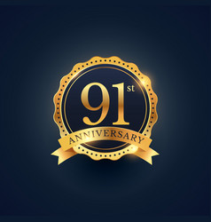 91st anniversary celebration badge label in vector image