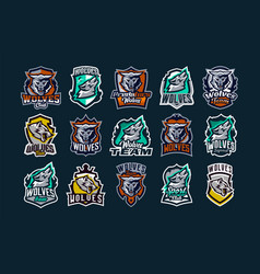 a large colorful collection emblems logos vector image