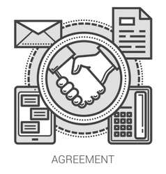 Agreement line icons vector image