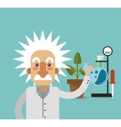 Albert einstein with science related icons image vector