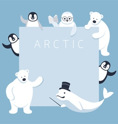 Arctic Animals Characters Show Presentation Frame vector