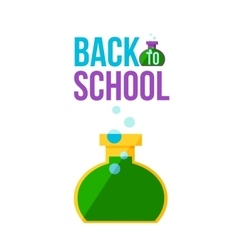 Back to school poster with round chemical retort vector image
