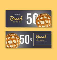 Bakery gift voucher template bread and bun vector