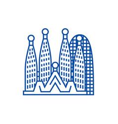 barcelonasagrada familia line icon concept vector image