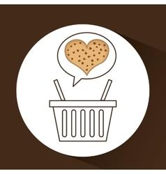 Basket sweet biscuits vector