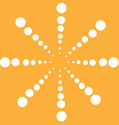 Big white snowflake circle on yellow background vector
