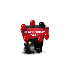 black friday sale red and black banner in the vector image