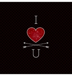 Black i love you hipster design with red vector
