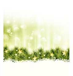 Border of fir twigs with golden stars in soft ligh vector image