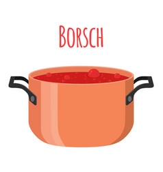 borsch - red ukranian soup with beet tomato meat vector image