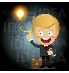 businessman turning on idea light bulb vector image