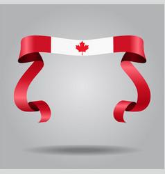 canadian flag wavy ribbon background vector image